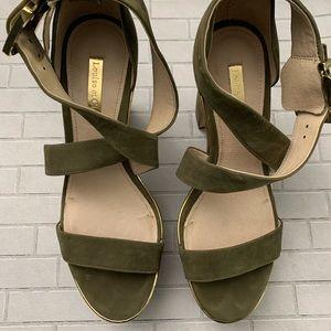 Louise et Cie olive green suede platform heels